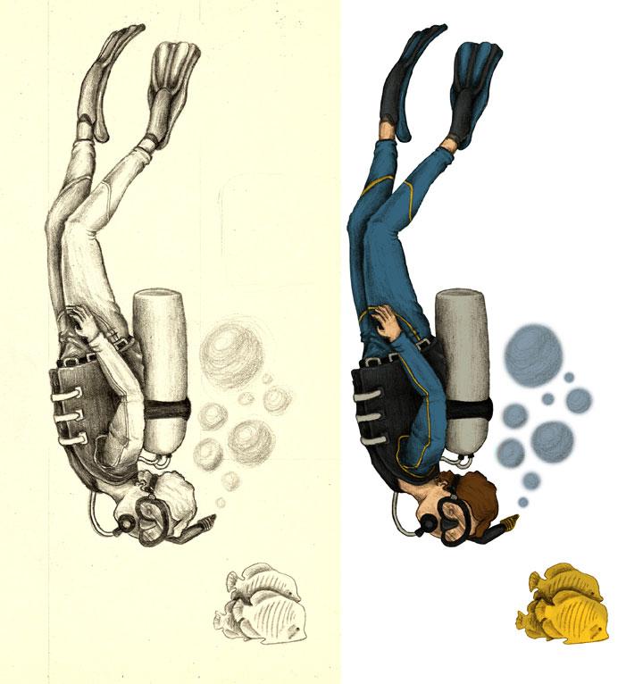 Ilustración buceador