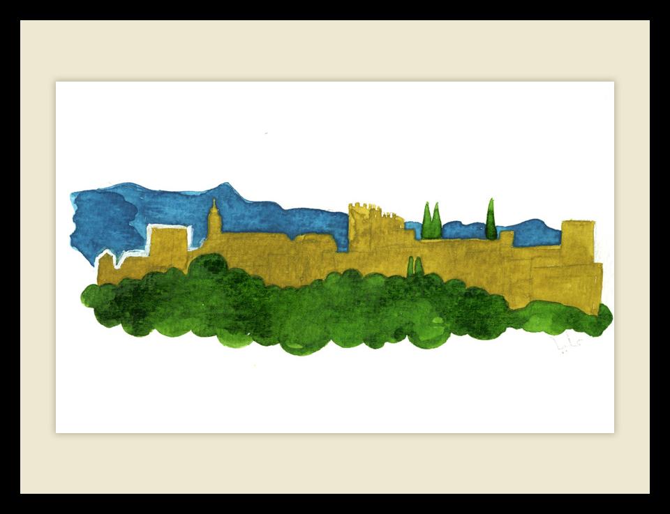 Ilustración panorámica de la Alhambra