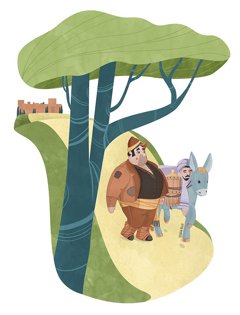 Ilustración de aguador y un hombre sobre un burro bajando por un camino que lleva a la Alhambra