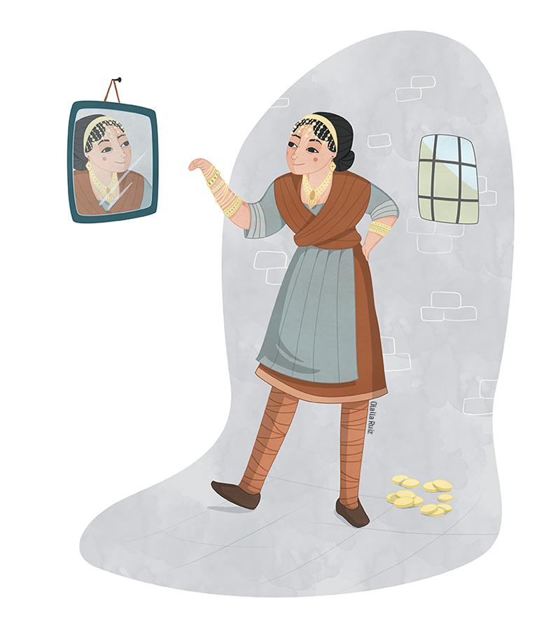 Mujer campesina probándose joyas y mirándose en un espejo
