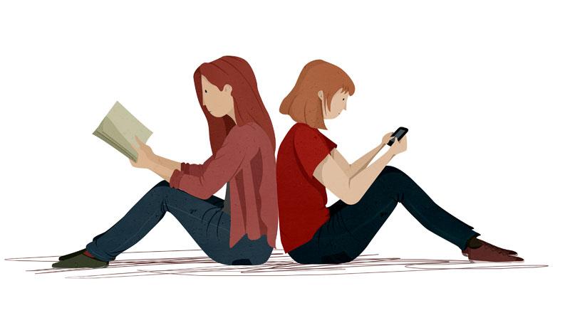 Ilustración libro de texto, analógico vs digital
