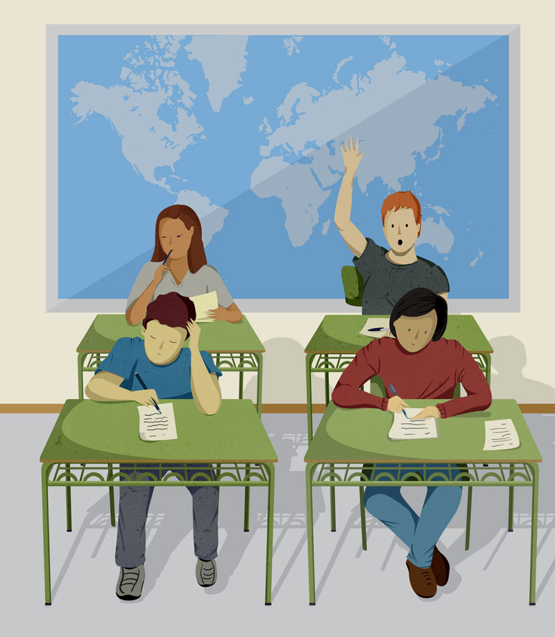 ilustración de libro de texto, examen