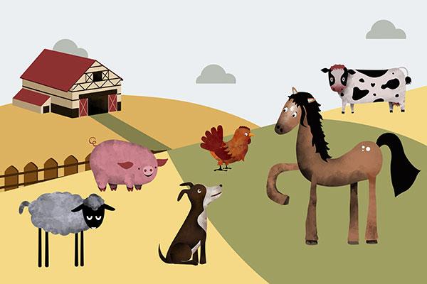 Ilustración de animales de granja