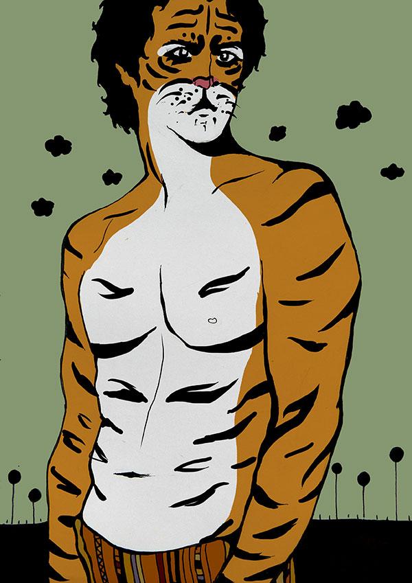 ilustracion Bodyart tigre