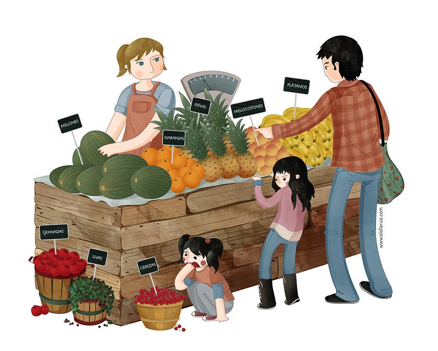 Ilustración de frutería