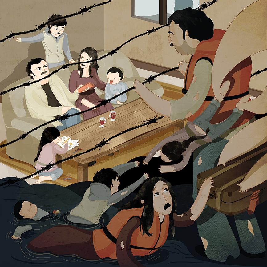 ilustracion refugiados