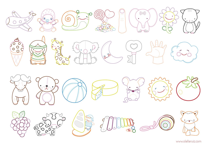 Ilustraciones abecedario para colorear