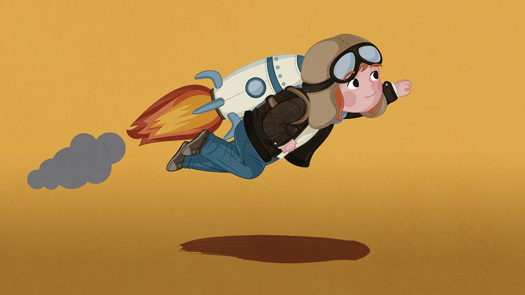 Ilustración niña volando en cohete