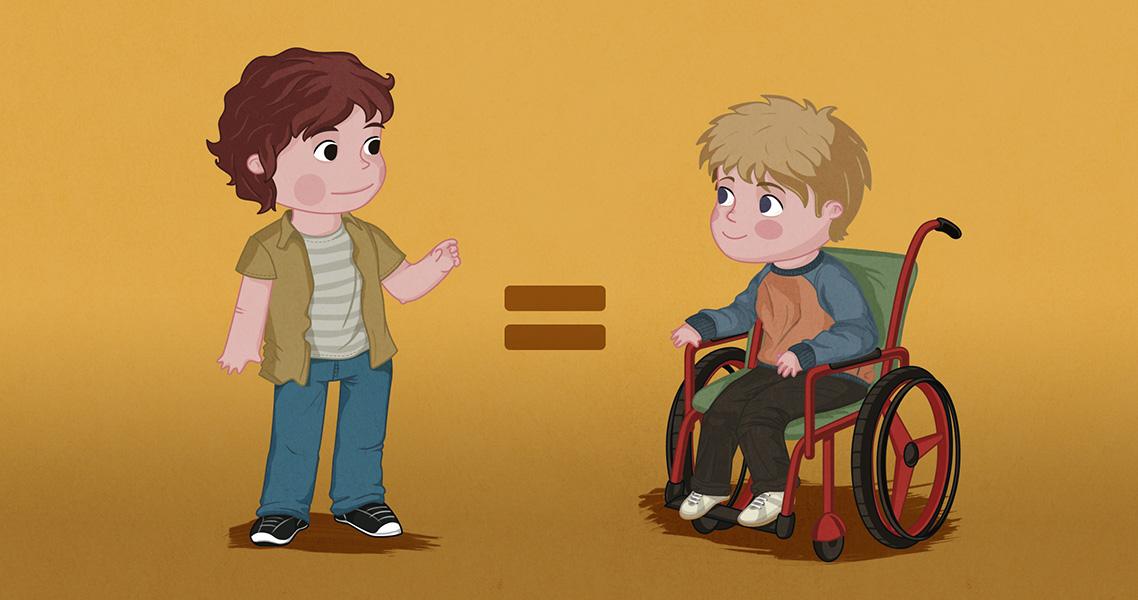 Ilustración niño en silla de ruedas