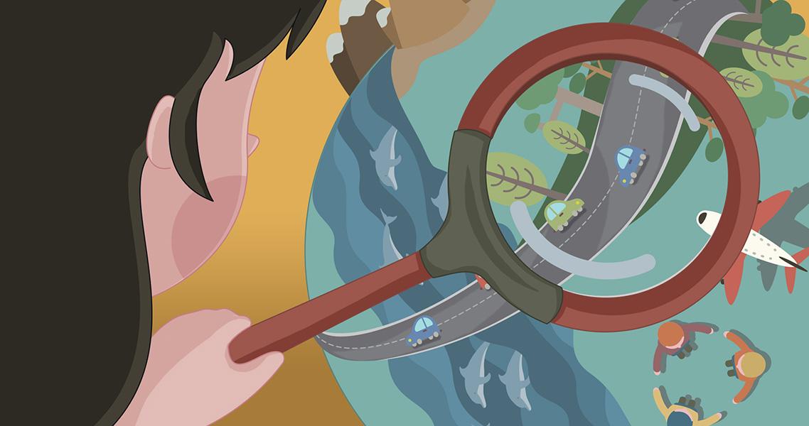 Ilustración niña mirando el mundo con lupa