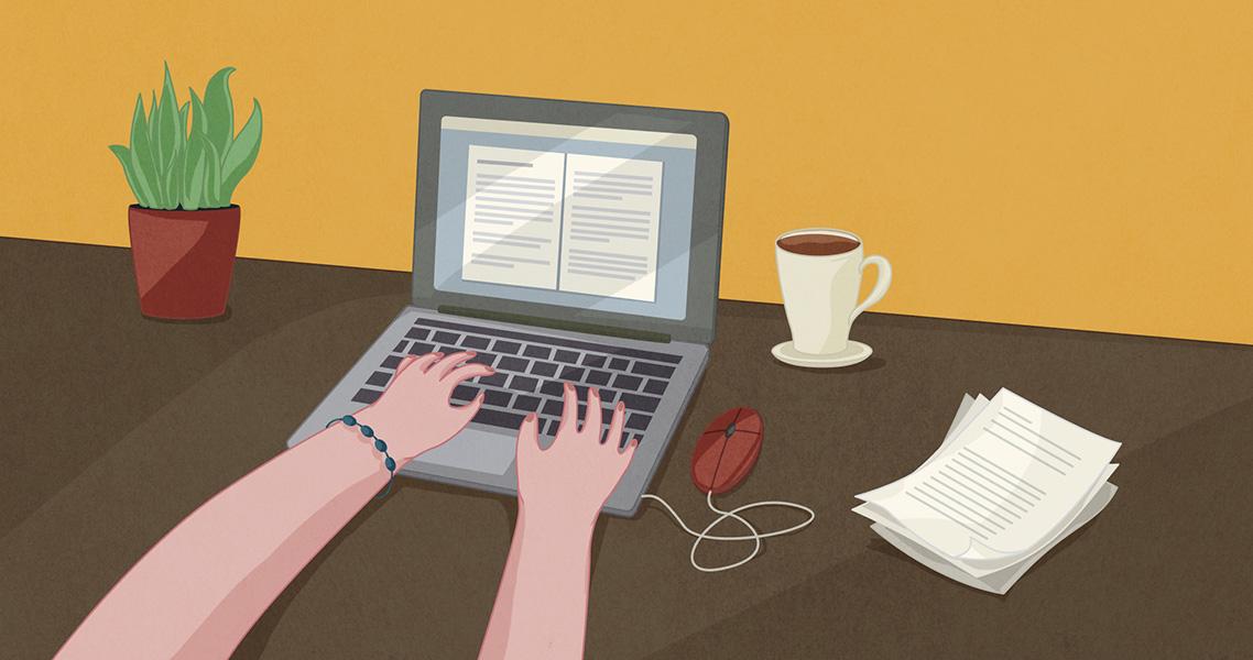 Ilustración escribiendo en el ordenador