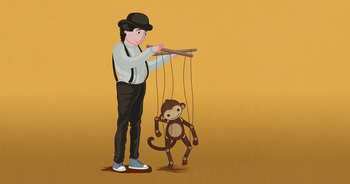 Ilustración titiritero y marioneta mono