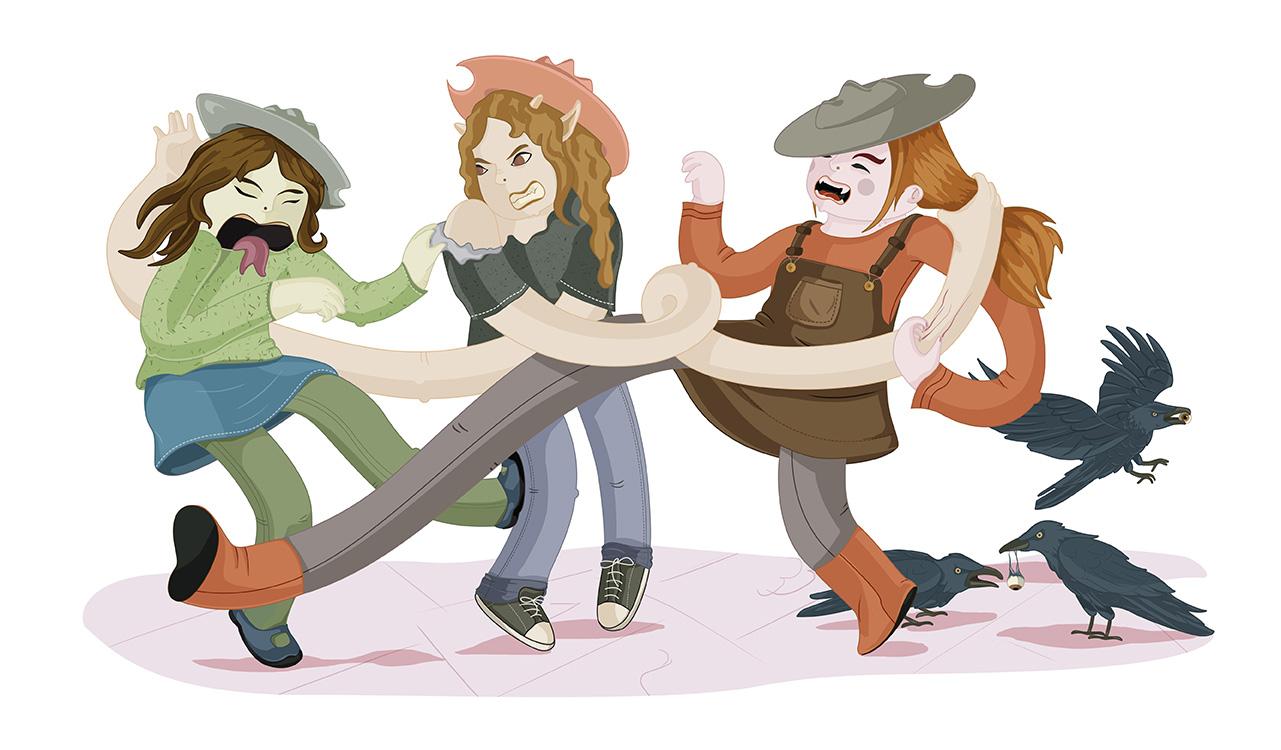Ilustración de tres niñas peleándose