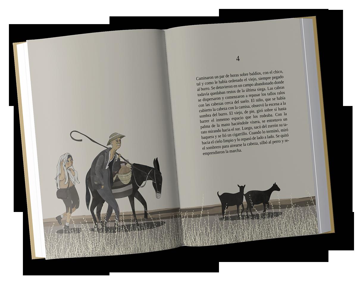 Libro ilustrado doble página Intemperie