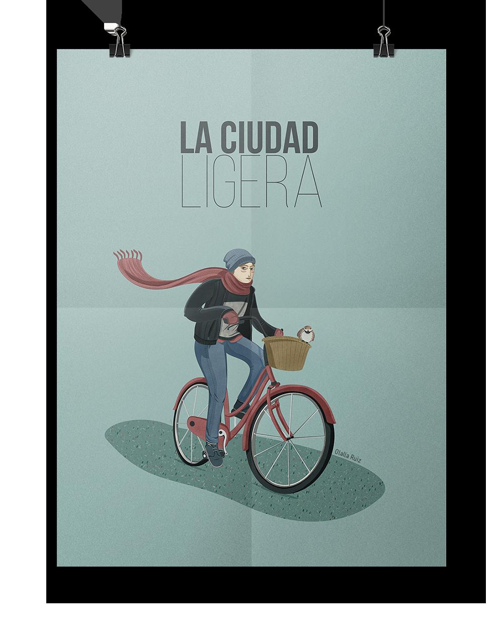 ilustración de ciclista. cartel la ciudad ligera