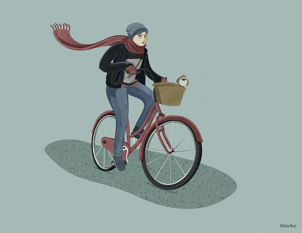 ilustración de ciclista urbano