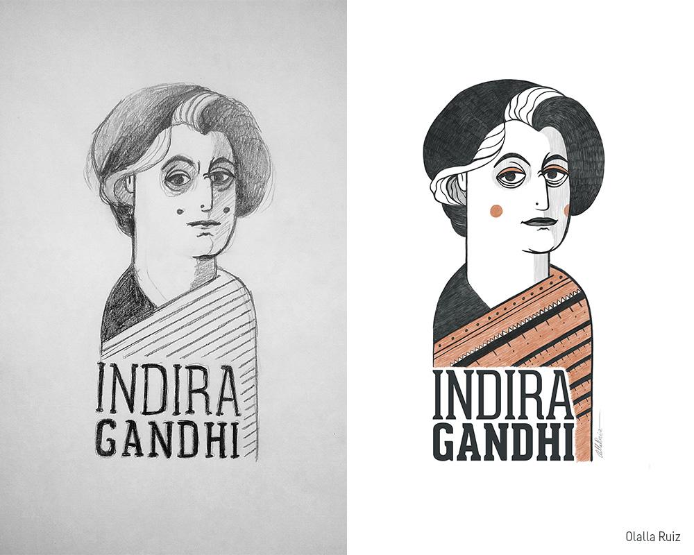 Boceto y e Ilustración final de Indira Gandhi