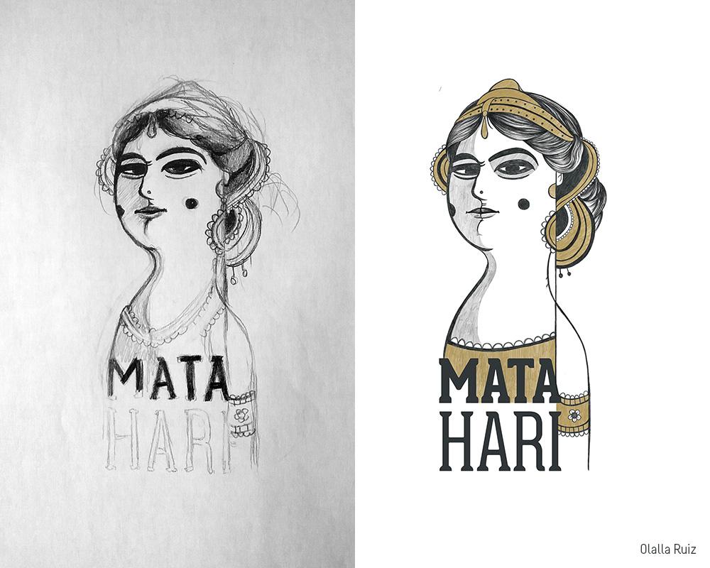 Boceto e ilustración final de Mata Hari