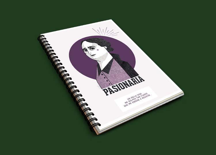 Cuaderno con portada ilustrada de Dolores Ibarruri Pasionaria