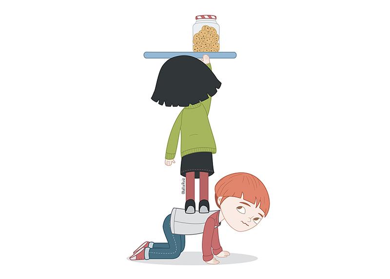 Ilustración de pareja de niños tratando de alcanzar unas galletas de una estantería.