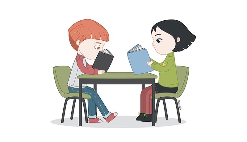 Ilustración de niños sentados en una mesa y leyendo