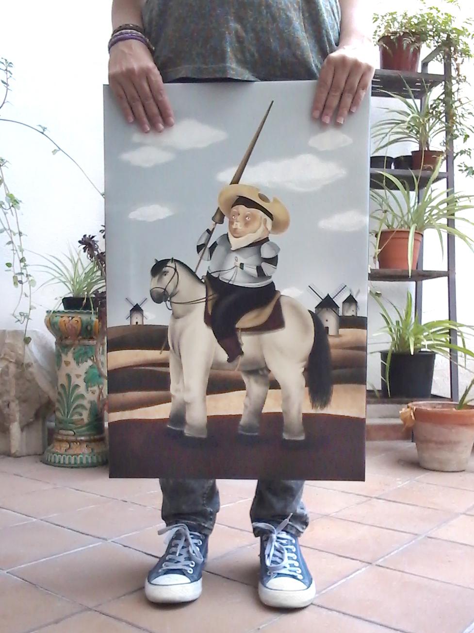Impresión en lienzo de la ilustración del Quijote Botero