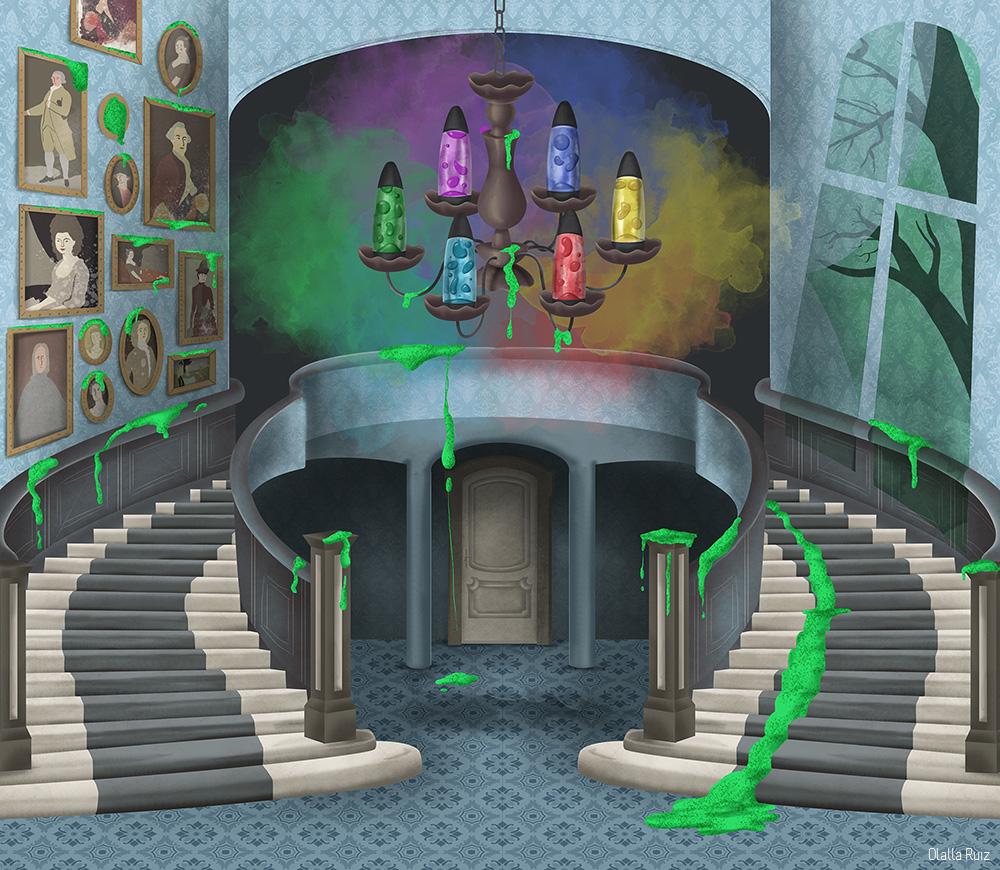 Ilustracion casa encantada Hall Interior Mansión