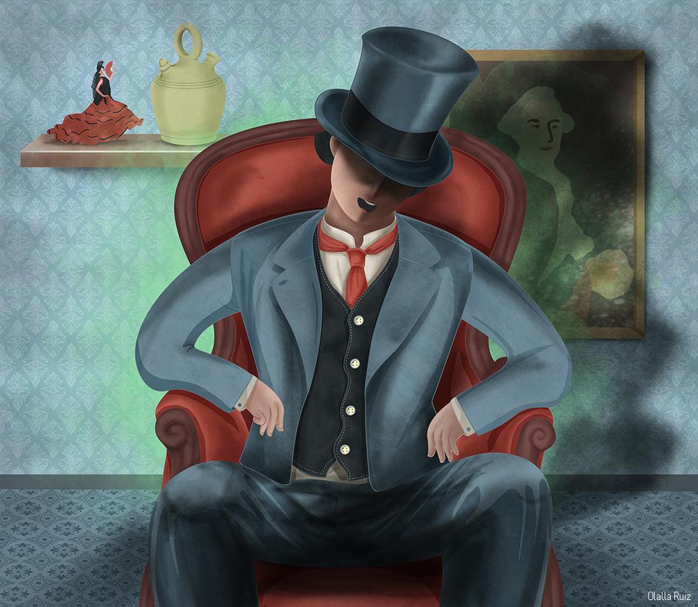 Ilustracion casa encantada personaje misterioso