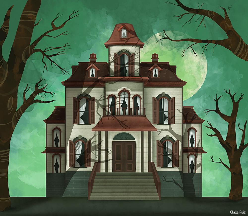 Ilustracion casa encantada tetrica