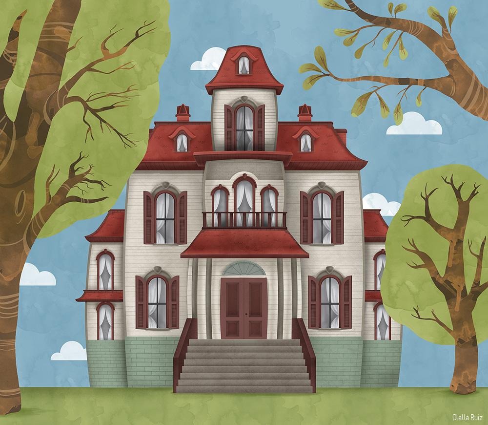 Ilustracion casa encantada de día
