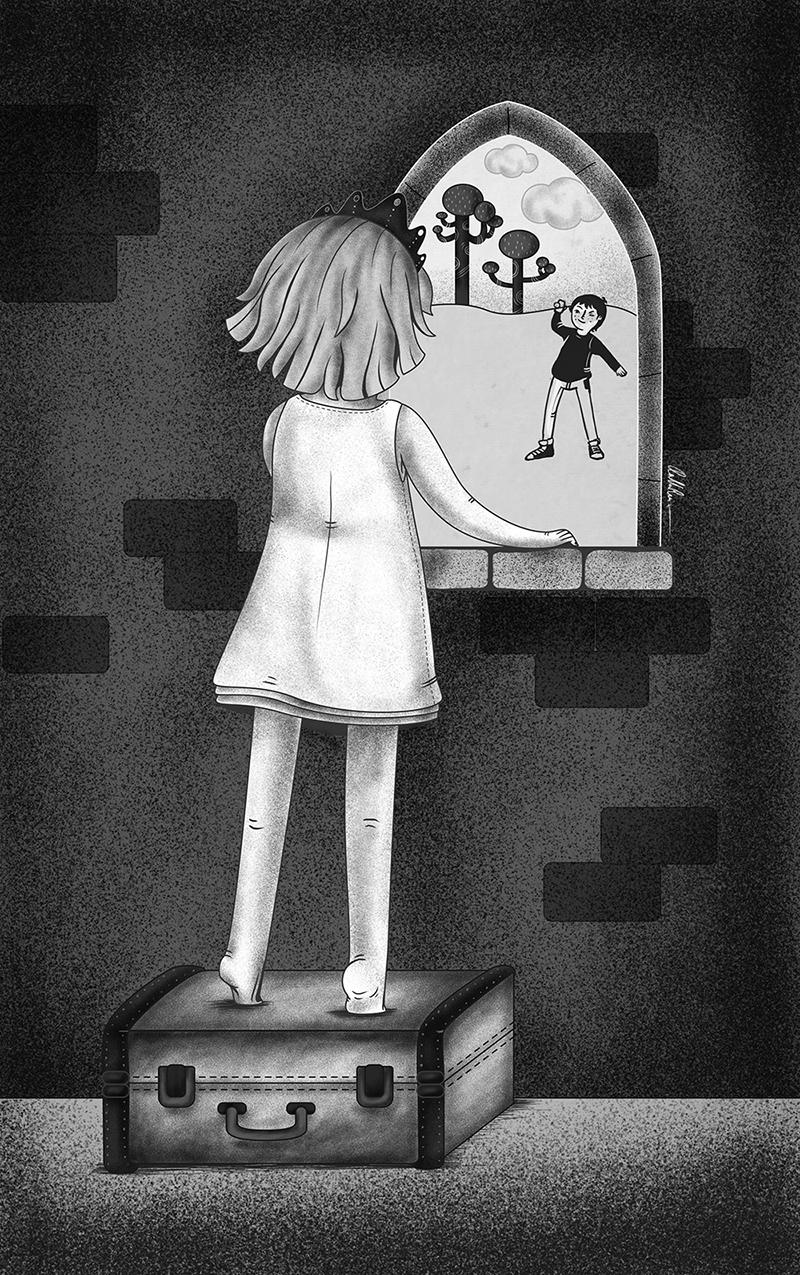 Ilustración princesa subida en la maleta mirando por la ventana