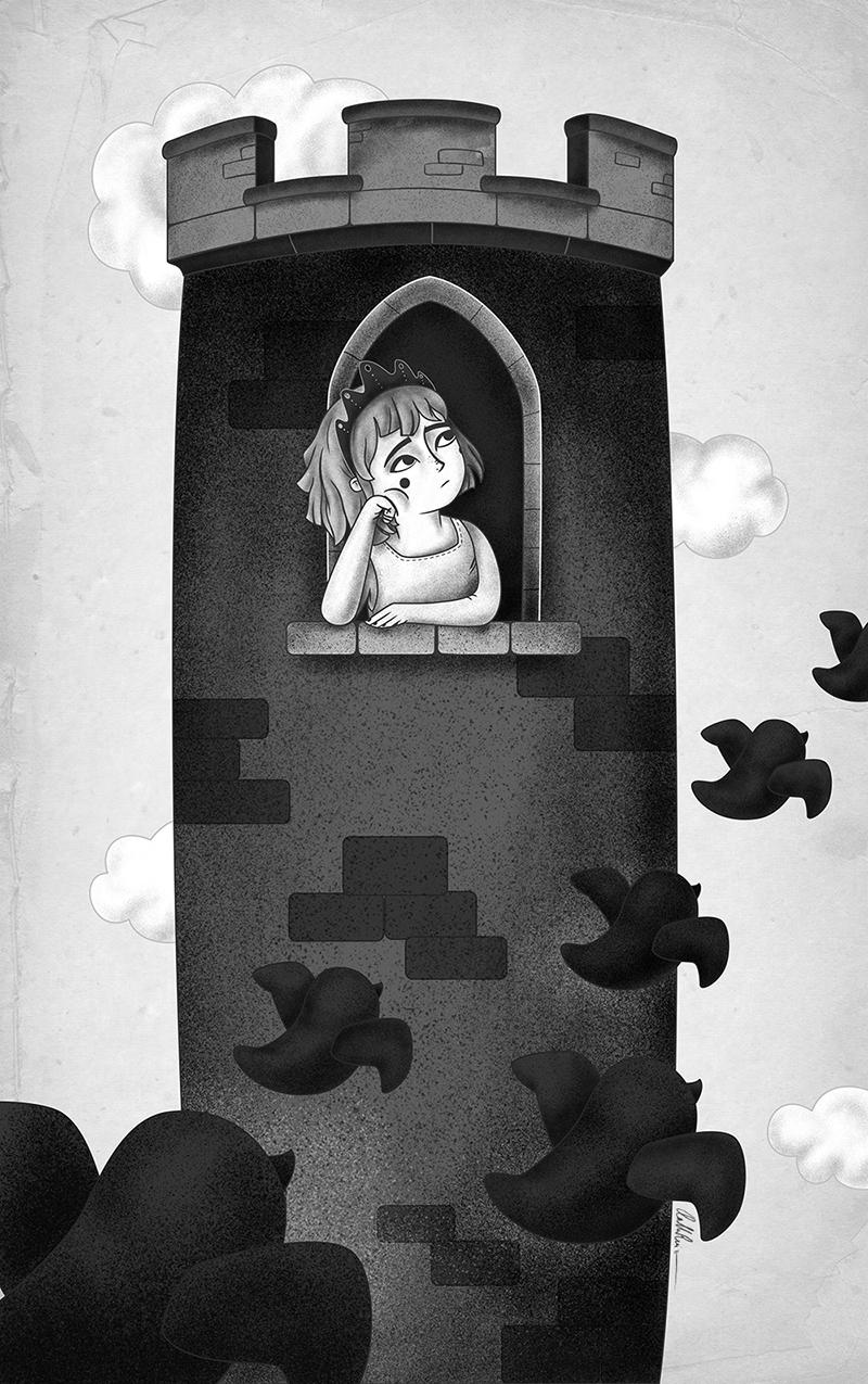 Ilustración princesa en la torre con pájaros