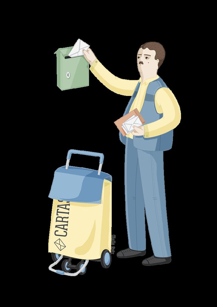 Ilustración de profesiones cartero