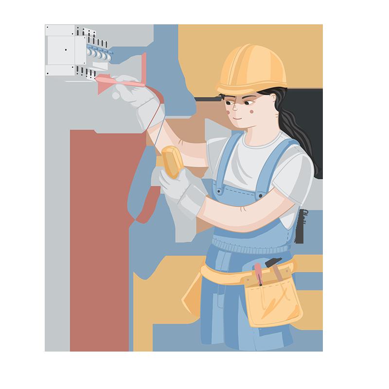 Ilustración de profesiones electricista