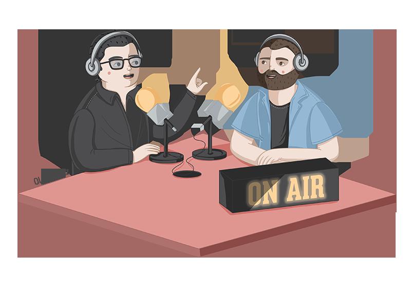 Ilustración de profesiones locutor de radio