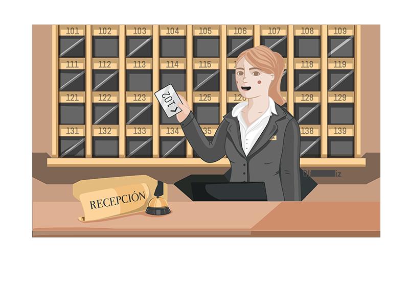 Ilustración de profesiones recepcionista de hotel