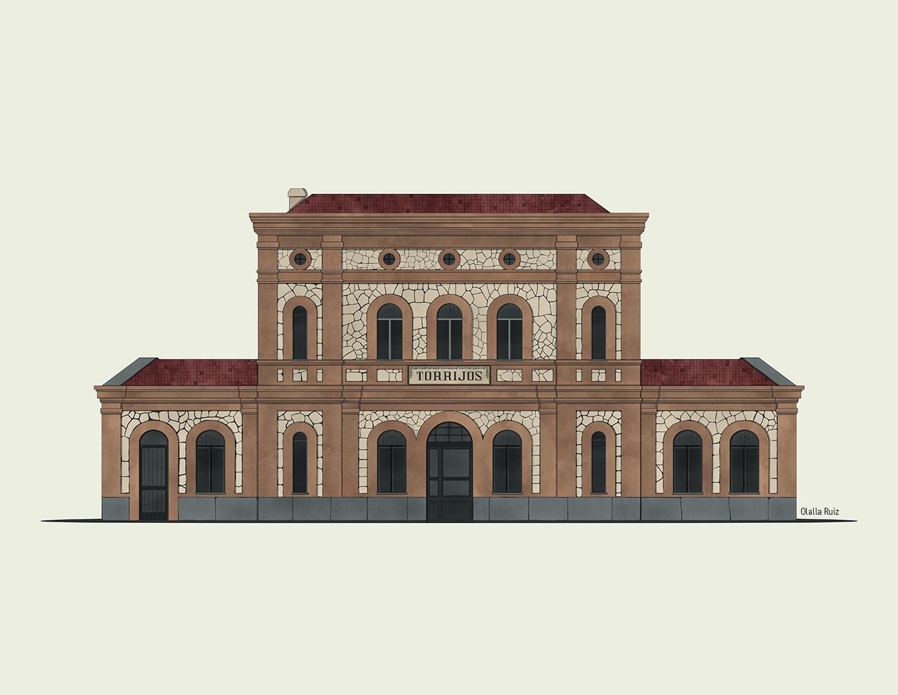 ilustración de arquitectura Estación de tren