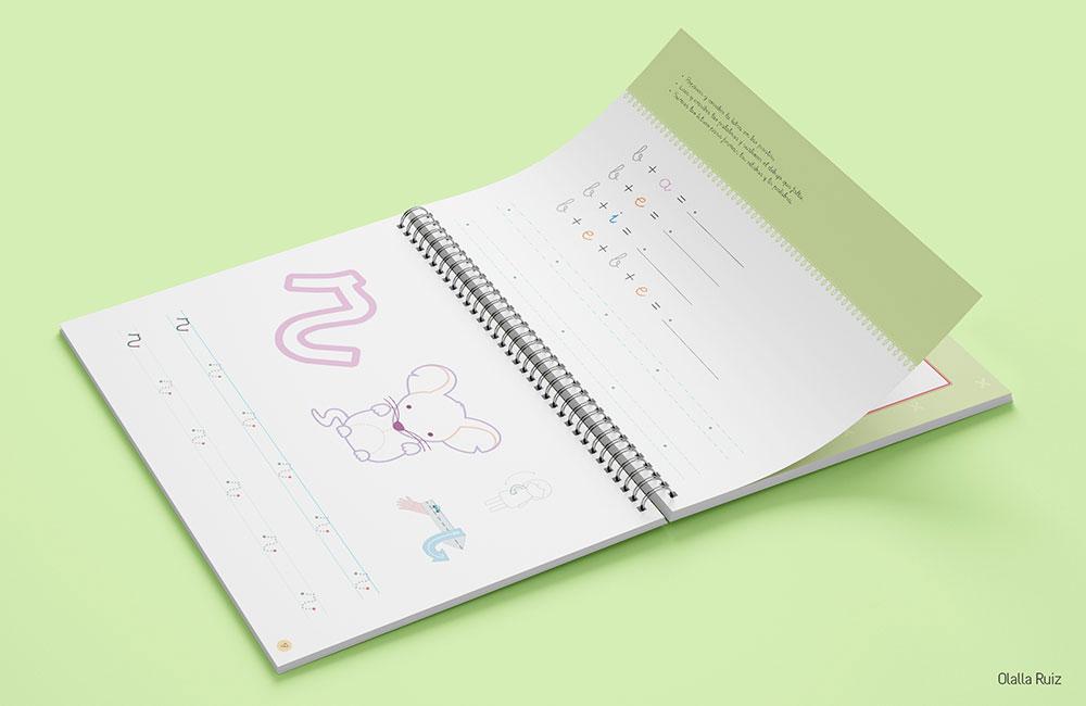 Cuaderno abierto para aprender a leer y escribir