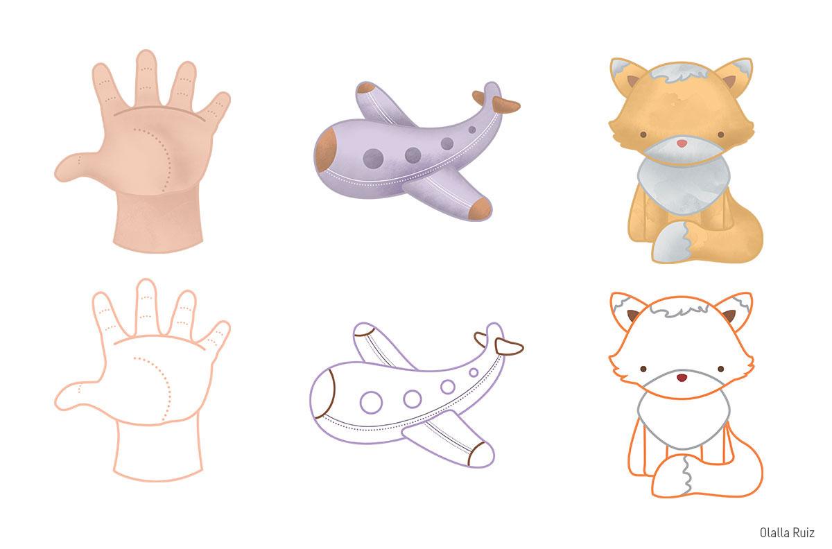 Ilustracion de mano, avion y zorro y dibujos para colorear