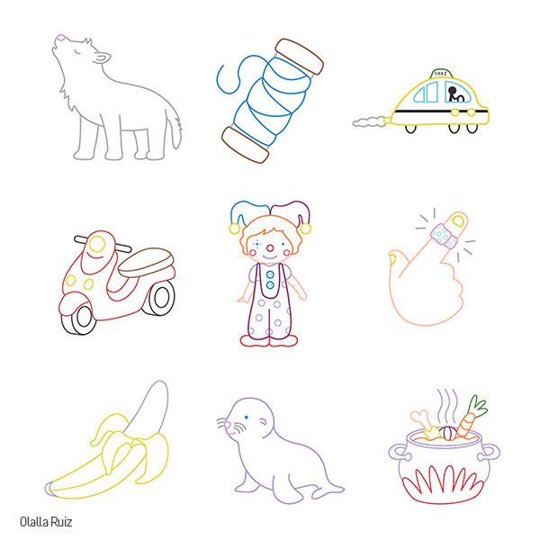 dibujo de lobo, hilo, taxi, moto, payaso, pupa, platano, foca y guiso para colorear