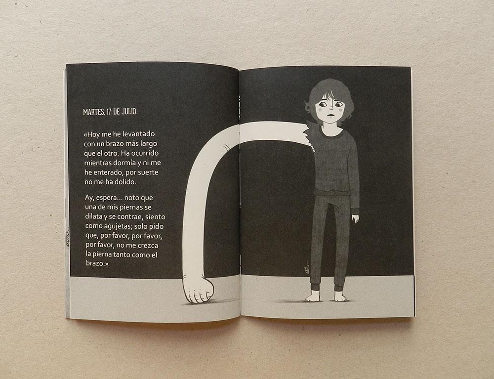 Ilustracion en escala de grises de doble pagina interior cuentos cortos