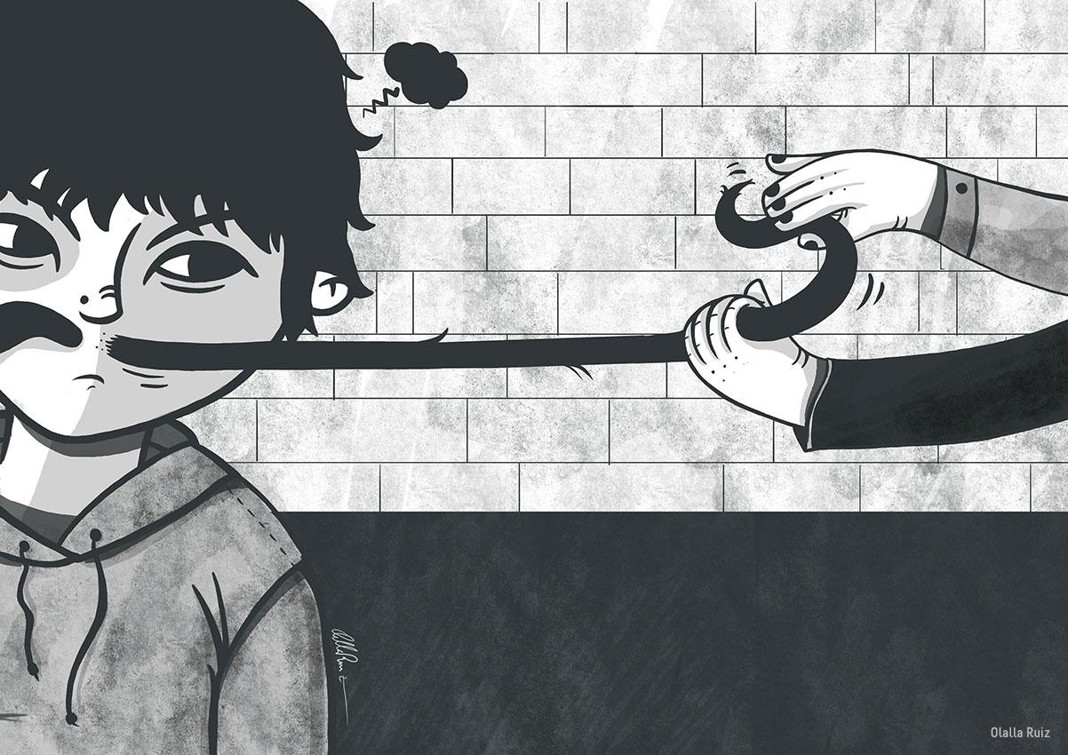 ilustracion infantil en blanco y negro, manos de niños tirando del bigote a otro niño que está enfadado