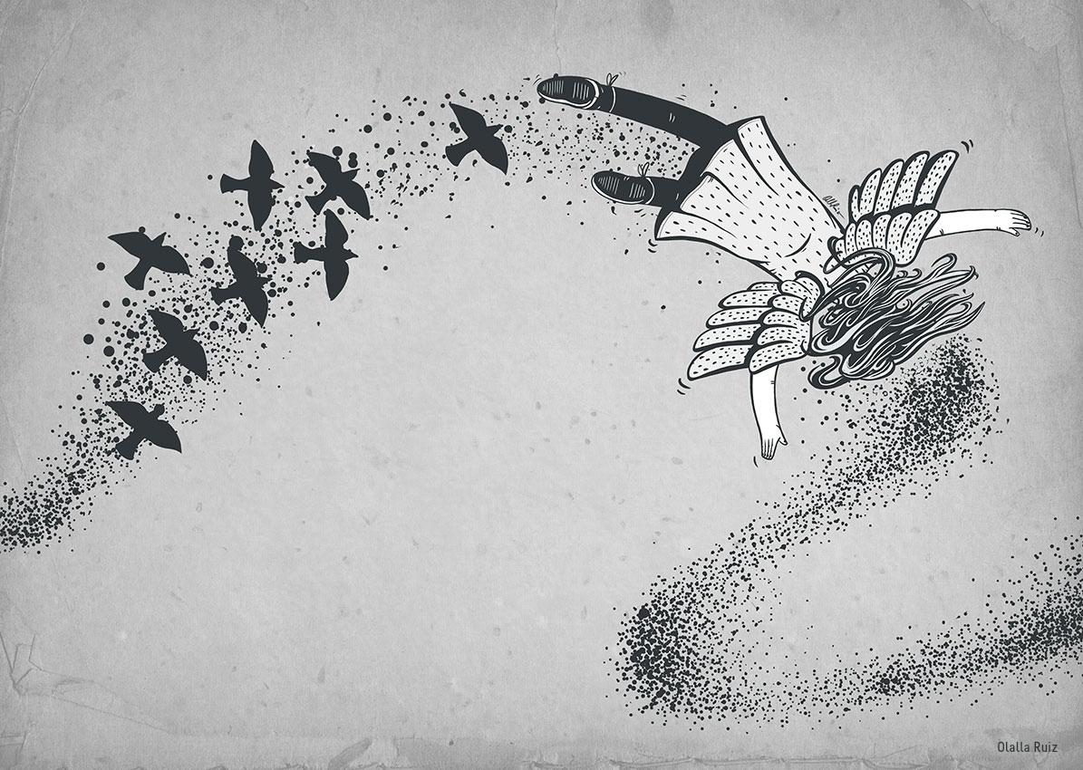 ilustracion infantil en blanco y negro, niña con alas volando con estorninos