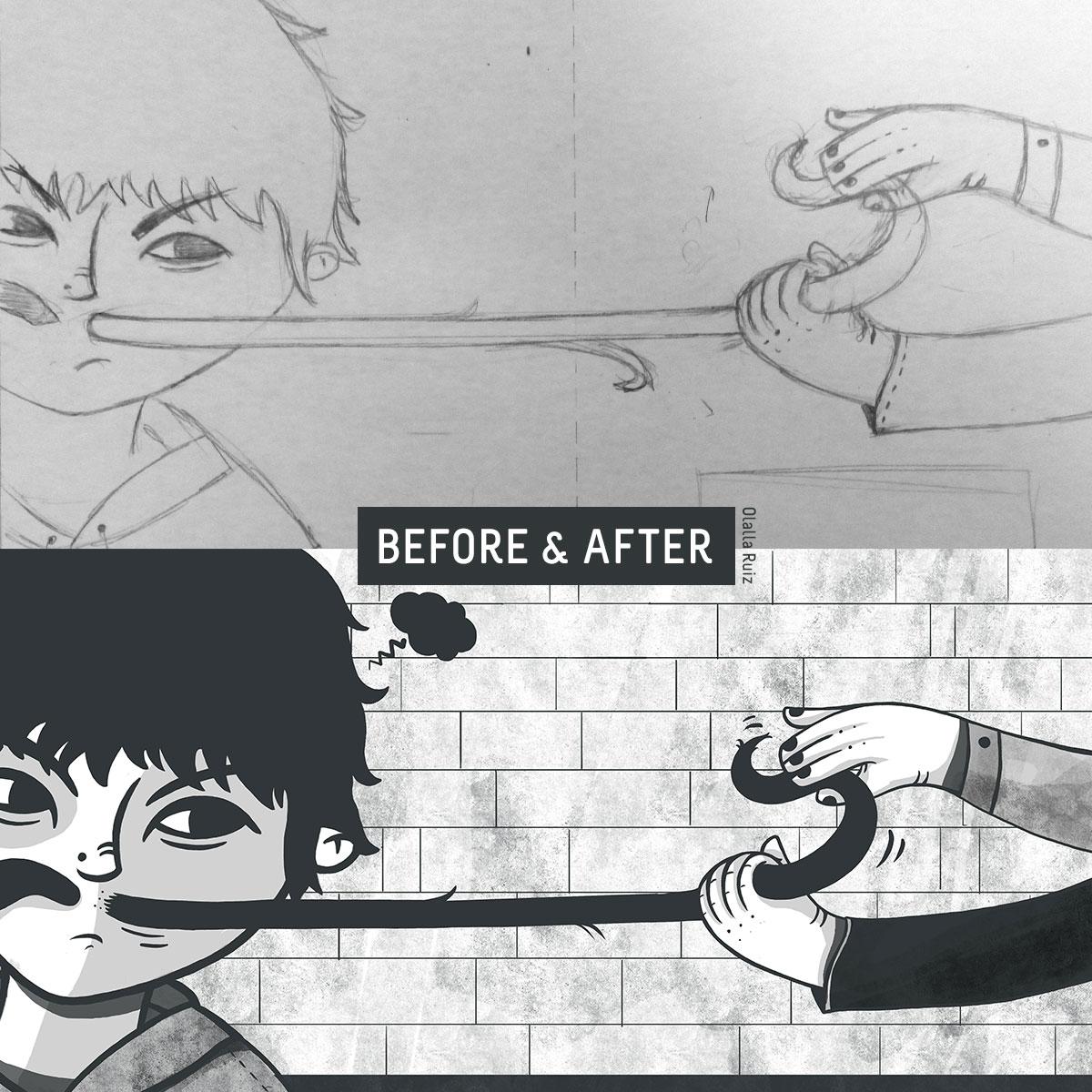 Boceto e ilustración final