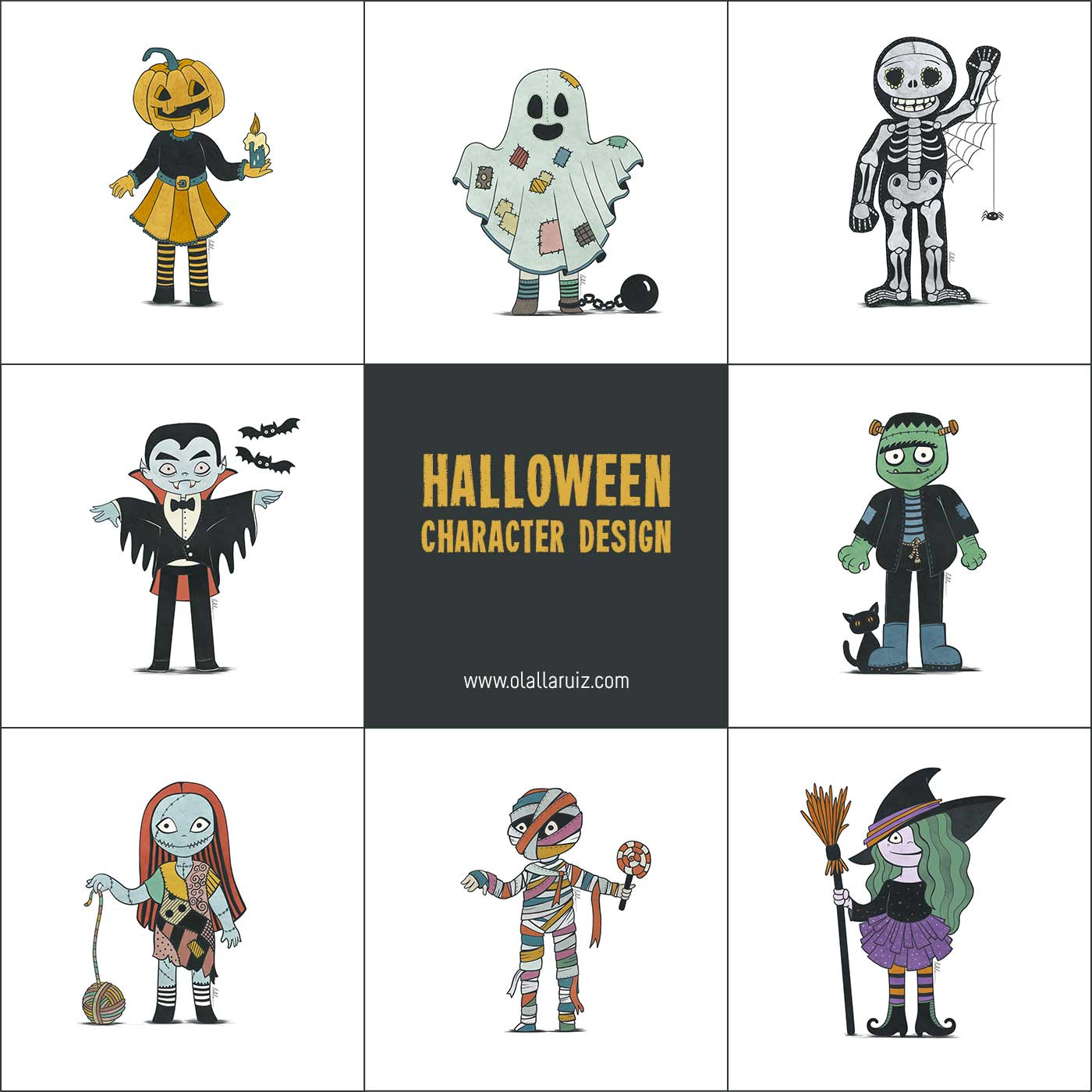 Halloween Character Design: pumpkin, ghost, skeleton, vampire, frankenstein, sally, mummy, witch