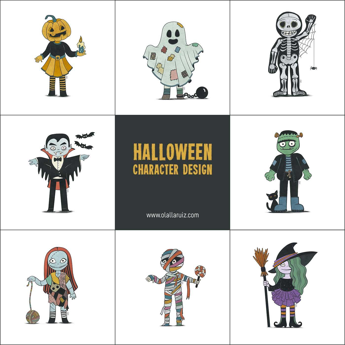 Halloween Character Design: pumpkin, ghost, skeleton, vampire, frankenstein, sally, mummy, witch