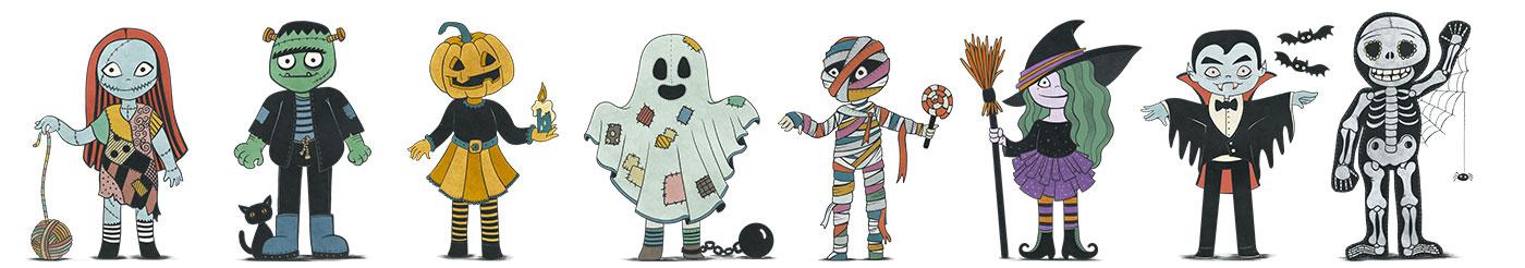personajes de zombie, frankenstein, calabaza, fantasma, momia, bruja, vampiro y esqueleto