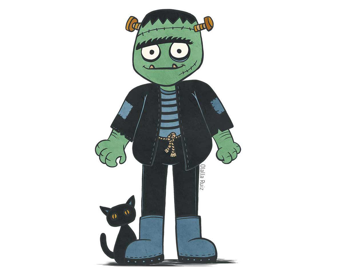 Frankenstein de piel verde con tornillos en la cabeza, chaqueta negra con parches, camiseta de rayas azul y negra, botas azules y gato negro detrás.
