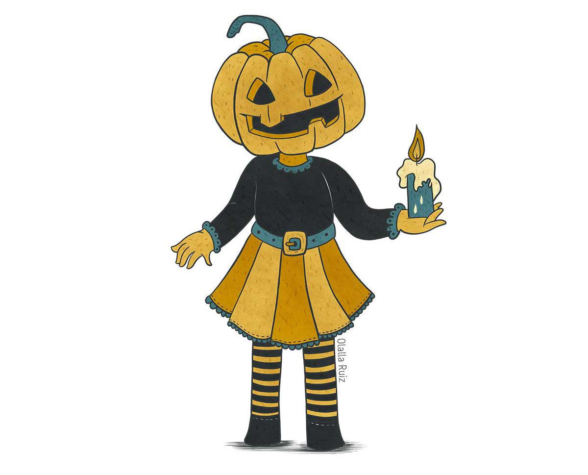 Una niña vestida para Halloween de Jack o Lantern, con cabeza de calabaza y una vela en la mano, viste una falda naranja y leggins con rayas.