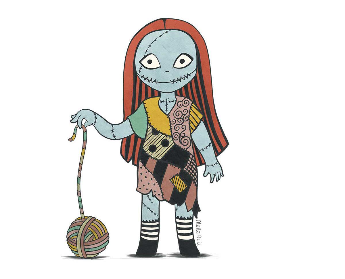 """Sally, personaje de """"Pesadilla antes de Navidad"""", con vestido de harapos de trozos de tela y con un ovillo de lana."""